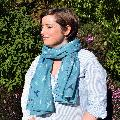 Duck egg blue murmuration RSPB organic cotton scarf product photo additional image 4 T