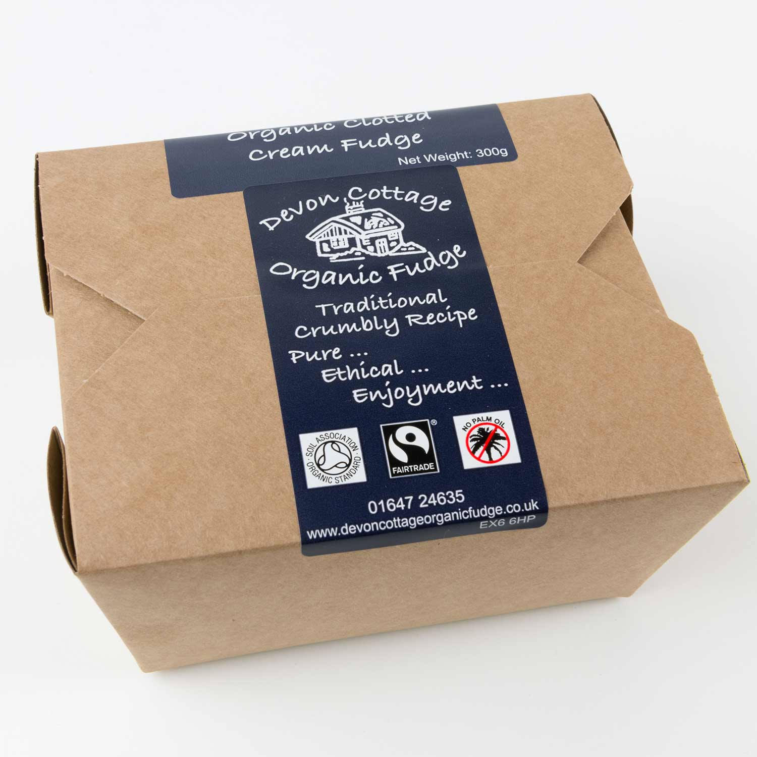 Organic Clotted Cream Fudge - 300g box product photo Front View - additional image 1 T